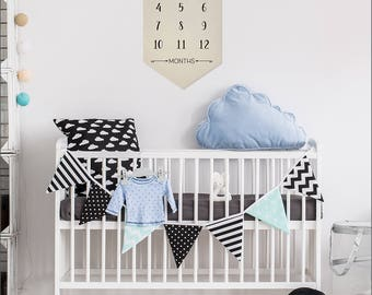 "My First Year- (Black Ink) Baby Milestone Hanging Canvas Newborn Decor & Photo Prop- 100% Natural Canvas 22.5""H x 12.5""W- Customize"