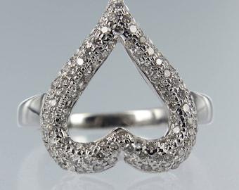 Heart Shape Diamond Engagement Ring 18kt White Gold.