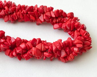WHOLESALE 5 Strands Red Stone Beads, RedStone Gemstone, Red Stone Chip Beads, Red Stone Necklace, 4-9mm, 32 Inch - RAMA198
