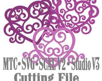 SVG Cut File Heart Flourish Set #04 Wedding Love Valentine Cricut Silhouette Cameo MTC SCAL Cutting Files