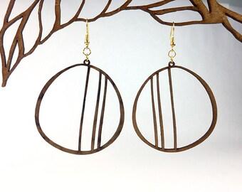 Minimal wood earrings