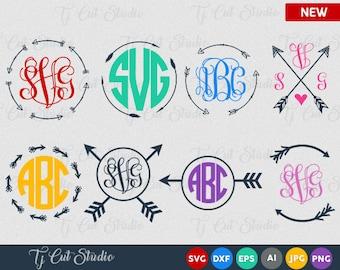 Arrow Svg, Arrows Svg, Arrow Monogram Svg, Circle Arrow Svg, Monogram Frame Svg, ,arrows SVG, digital cut file