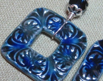 Carved Leaf Porcelain Square Dark & Swarovski Crystal Earrings - E607