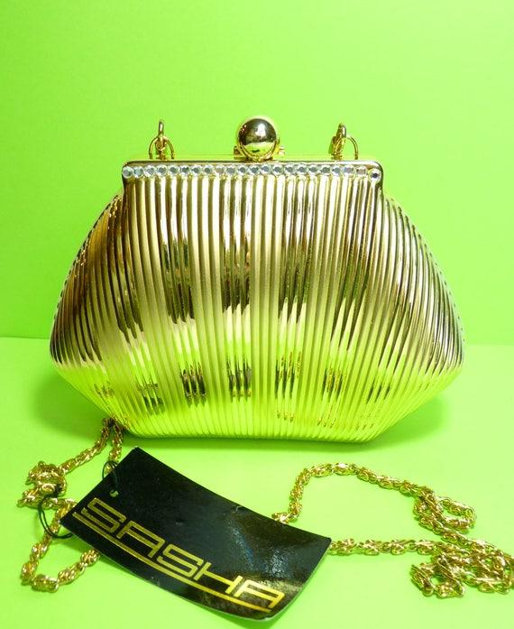 SASHA CLAMSHELL HANDBAG, Vintage Hollywood Style Hard Shell Gold Handbag, Button Closure and Swarovski Crystals, 21 Inch Chain, Evening Bag