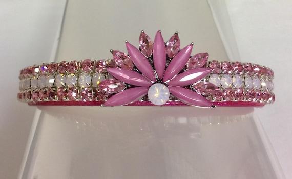 Cutie Pie Pet Collars TM ~Pink Diamond Opal Queen~ UPSCALE Crystal Diamante Rhinestone Pet Dog Cat Collar USA