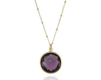 Purple Amethyst Necklace, February Birthstone Necklace, Round Gemstone Necklace, Amethyst Pendent Necklace, Bridesmaid Gift, Birthday Gift