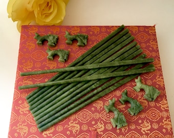 on sale Jade stones chopstick set of six with Chinese foo dog rests replacement asian kitchen wares