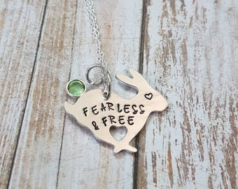 Fearless and Free hand stamped rabbit pendant with swarovski crystal birthstone