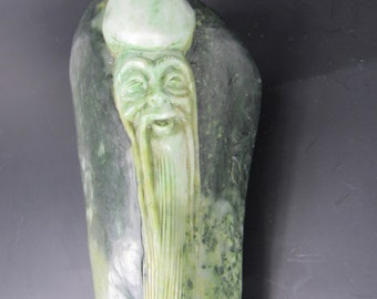A Chinese Green Jade Carving immortal imagery