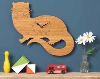 Otter Wall Clock, Modern Clock, Childrens Clock, laser cut by Owl & Otter