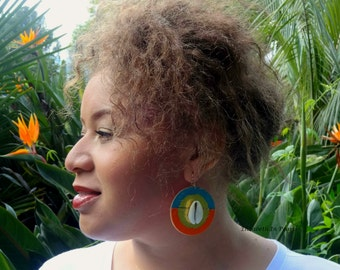 Ablaze: Vinyl On Wood  Earrings With Gold Leaf and Cowrie Shells