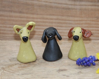 Collectable Dog Sculptures, Ceramic Dog Figurine, Quirky black dog, Love Dogs,  Hand Painted Dogs, Little Alsatian Dog, Unique clay dogs