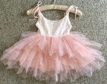 2T-6T, Mini Blush Flower Girl, Pink Tulle, Ballet Tutu, Cake Smash, Photography Dress, First Birthday, Boat Neck, princess dress