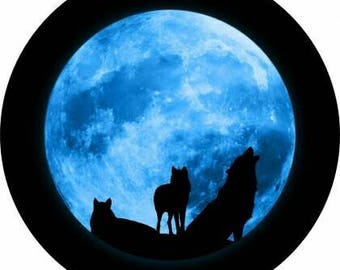 Wolves Howling at the Moon spare tire cover. Tire cover for jeep wranglers. SUV tire cover. RV tire cover. Rear tire cover (SKU 044)
