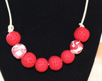 Red raspberry necklace, Eco Friendly handmade clay beads