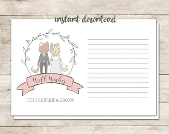 Wedding Advice Cards, Advice for Bride and Groom, Well Wishes, Newlywed Advice, Wedding, Cat Illustrations, Love, Printable No. 1020
