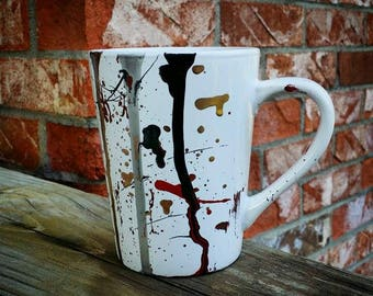 White, Red, Black & Gold Original One Of A Kind Hand-Paint 14oz Stoneware Coffee Mug By Artist Moxie Malloy Exclusively For Moxie's Moments