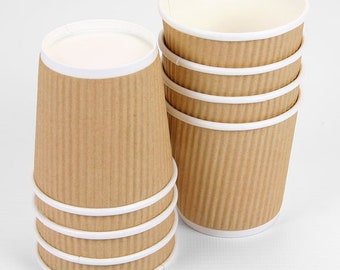 Coffee Cup ,8 ounce White Disposable Ripple Wall Coffee and Tea Cup 50