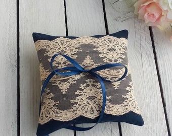 Navy and peach ring pillow