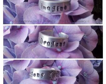Hand stamped 'Imagine Dragons' Aluminium Cuff Ring, Ring, Metal Jewellery, Jewelry, Cuff Ring, Imagine Dragons, Dragons, Music, Band.