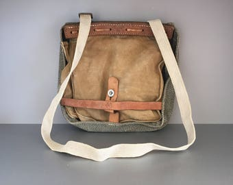 Vintage Swiss Army 1942 Bread Bag, WW2 Army bag Man Messenger Across Body Salt & Pepper Canvas Leather