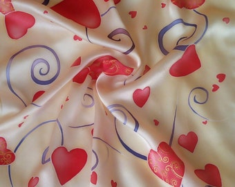 silk scarf  handpainted , red  hearts , head scarf silk , neck scarf ,  for women , scarf square , Valentines Day