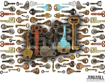KEYED UP - Digital Printable Collage Sheet - Vintage Skeleton Keys, Old Rusty Steampunk Embellishments, PNG Instant Download