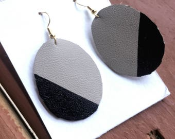 Black and Gray Color Block Leather Earrings