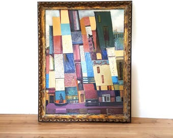 Signed Abstract Painting Cityscape/ Colorful City Buildings Wall Art / Vintage Framed Street Scene