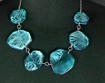 Statement modern jewelry, Bib style geometric necklace, Black navy necklace, Artisan necklace, Blue floral Bib Necklace, unique necklace