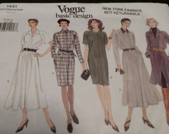 Vogue 1441  Misses' Dress Loose Fitting Straight or Flared Size 8-10-12   New Uncut