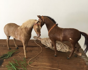 2 antique original pull toy horses with horse hide~missing parts~ vintage collectible toys from MilkweedVintageHome