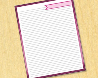 """Printable List """"Candy Stripes"""" Style - Pink (Letter Size)"""