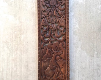 Bali Teak Wood Wall Décor 20u201d X 7u201d Panel Carved In High Relief ~P12a
