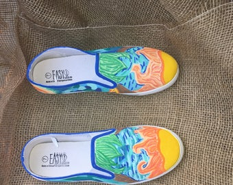 Sunny Sky Hand-Painted Custom Canvas Sneakers