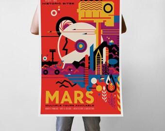 Mars Planet of the Future NASA Propaganda Traveler Art Print Poster - Multiple Sizes