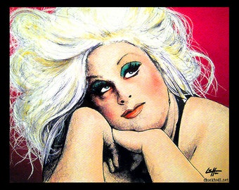 "Imprimer 8 x 10""- divin - flamants roses de John Waters Hairspray Drag Queen Pop Art rose Mondo Trasho culte Sex Vintage 60 s 70 s 80 s Baltimore"
