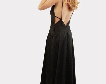 Long Dress, Black Prom Dress, Black Dress, Black Long Dress, Maxi Dress, Black Party Dress, Open Back Dress, Black Evening Dress, Custom