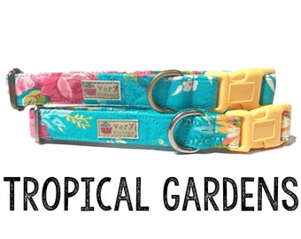 "Bright & Colorful Teal Turquoise Light Pink Yellow Tropical Hawaiian Floral Dog Collar - Antique Metal Hardware - ""Tropical Gardens"""