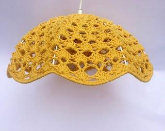 Vintage yellow Crochet hanger