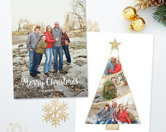 Holiday Christmas Card Template for Photographers - 5x7 Photo Card - Photoshop Template - 041, INSTANT DOWNLOAD