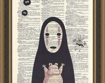 Spirited Away No Face and Friends illustration printed on a vintage dictionary page, Anime Print, Manga Art, Print for Kids, Nursery Poster.