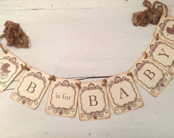 Baby Shower Banner B is for Baby Garland Baby Shower Decoration Boy or Girl Carriage Photo Prop