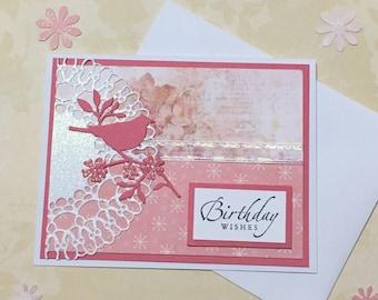 Birthday card, greeting card, handmade card, occasion card, pink, bird design