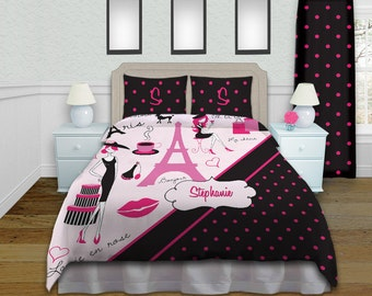 Hot Pink And Black Bedding Luxury Bedding Paris Duvet Cover