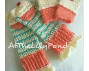 Baby Girl Leg Warmers, Cupcake Leg warmers, Baby Leg Warmers, Crochet leg warmers, Crochet Fingerless Gloves, Girl's Christmas gift, Cupcake