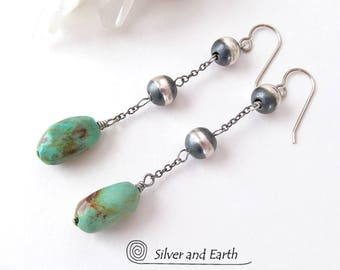 Kingman Turquoise Earrings, Sterling Silver Earrings, Turquoise Dangle, Oxidized Silver, Natural Turquoise Jewelry, Artisan Handmade Jewelry