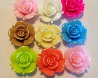 5 Pieces Mixed Colors Flower Resin Beads