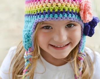 Girls winter hat, rainbow hat, girls hat, little girls hat, crochet girl hat, baby girl hat, kids hat, crochet hat for girls, baby hat