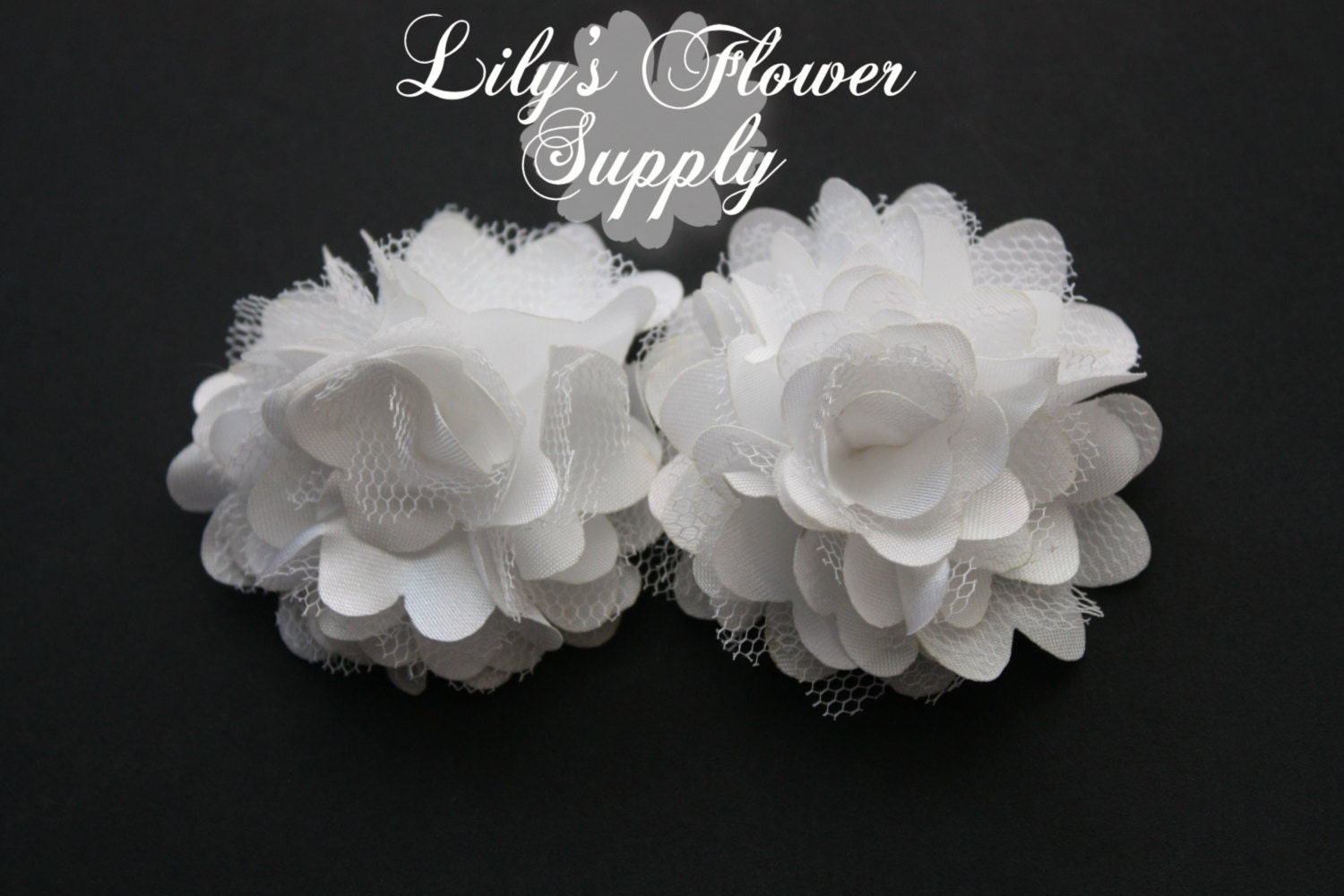 White Mini Satin Mesh Flowers 2 Inch Fabric Flower Lace